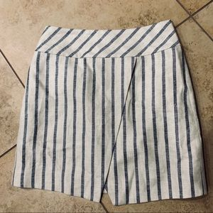 J. Crew Linen Blue & White Striped Mini Skirt Sz 2